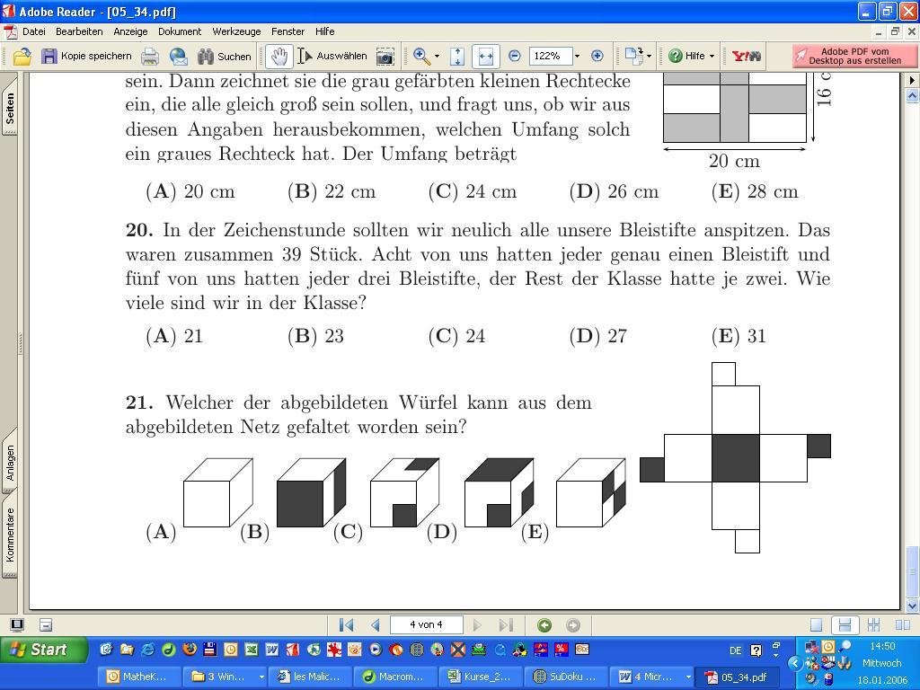 Känguru Mathematik Lösungen 2012